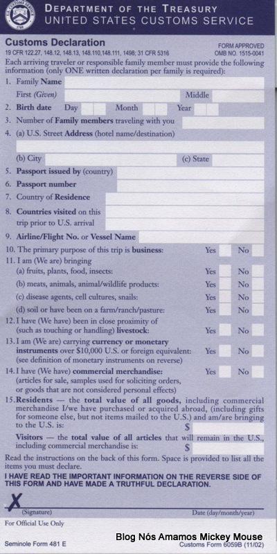Formulário declaraç¦o alfândega